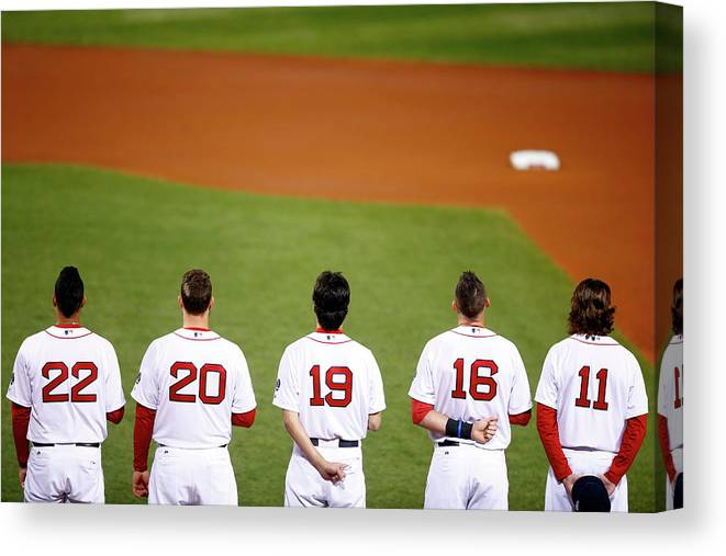 American League Baseball Canvas Print featuring the photograph Clay Buchholz, Will Middlebrooks, and Koji Uehara by Jared Wickerham
