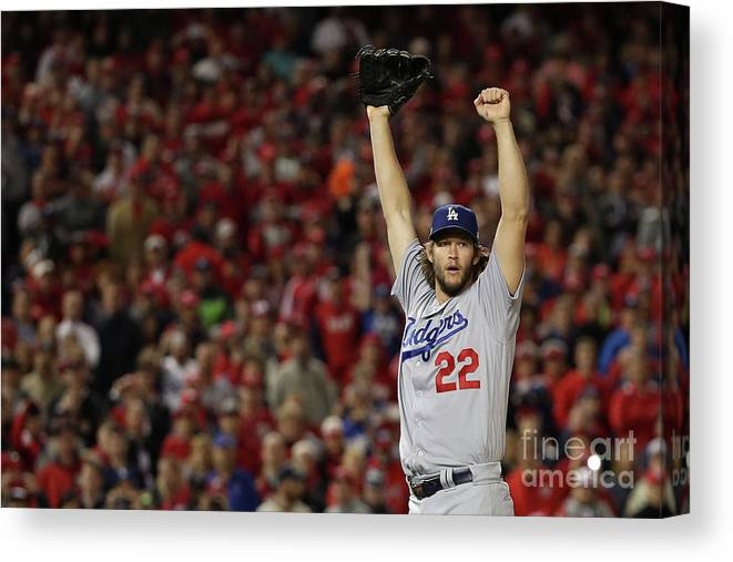 Three Quarter Length Canvas Print featuring the photograph Clayton Kershaw by Patrick Smith