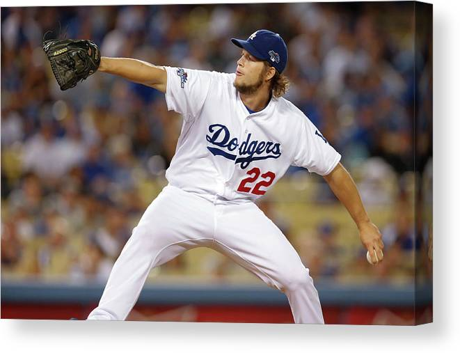 Playoffs Canvas Print featuring the photograph Clayton Kershaw by Rob Leiter