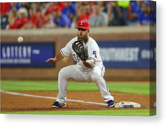 People Canvas Print featuring the photograph Cleveland Indians v Texas Rangers by Rick Yeatts