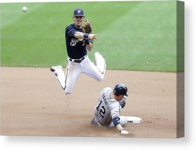 Double Play Canvas Print featuring the photograph Clint Barmes and Scooter Gennett by Mike Mcginnis