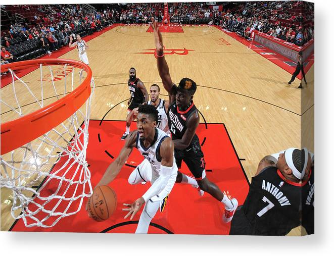 Nba Pro Basketball Canvas Print featuring the photograph Clint Capela and Donovan Mitchell by Bill Baptist