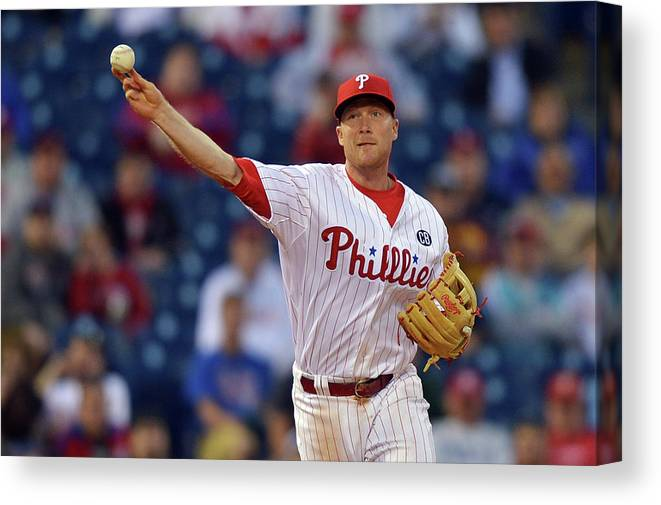 Ninth Inning Canvas Print featuring the photograph Cody Asche by Drew Hallowell