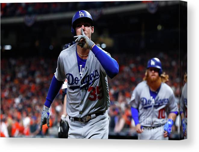Three Quarter Length Canvas Print featuring the photograph Cody Bellinger by Jamie Squire