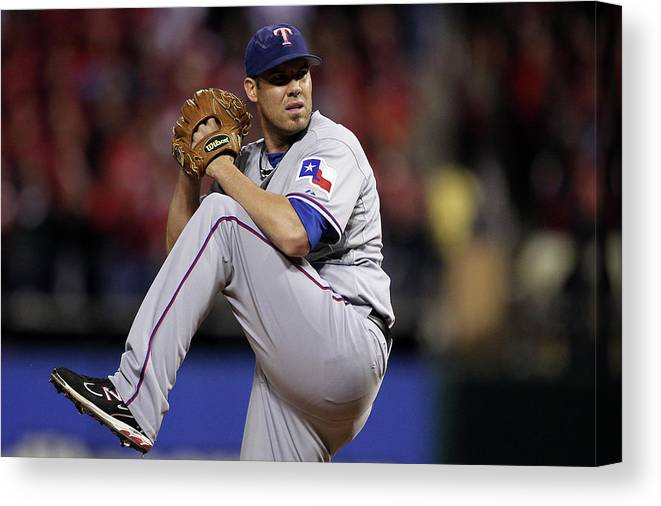 St. Louis Cardinals Canvas Print featuring the photograph Colby Lewis by Ezra Shaw