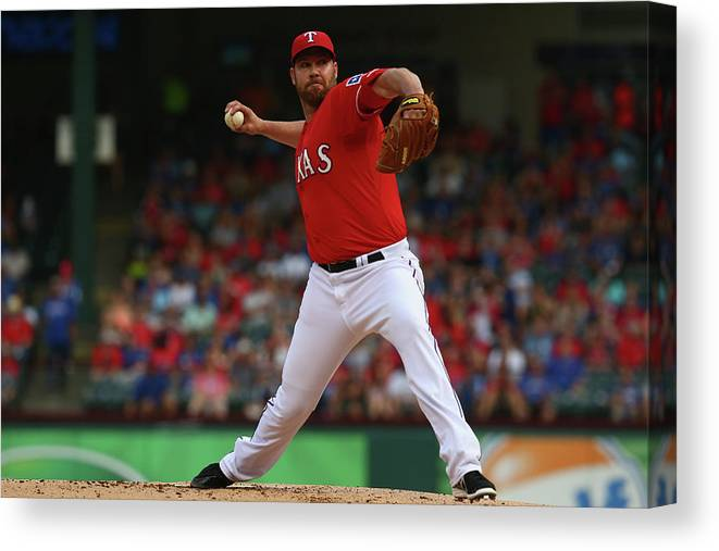 People Canvas Print featuring the photograph Colby Lewis by Ronald Martinez