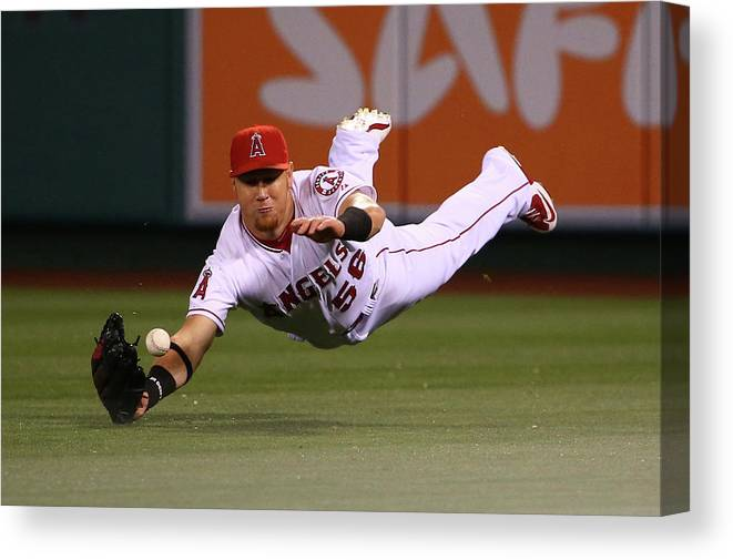 Ninth Inning Canvas Print featuring the photograph Colby Rasmus and Kole Calhoun by Victor Decolongon