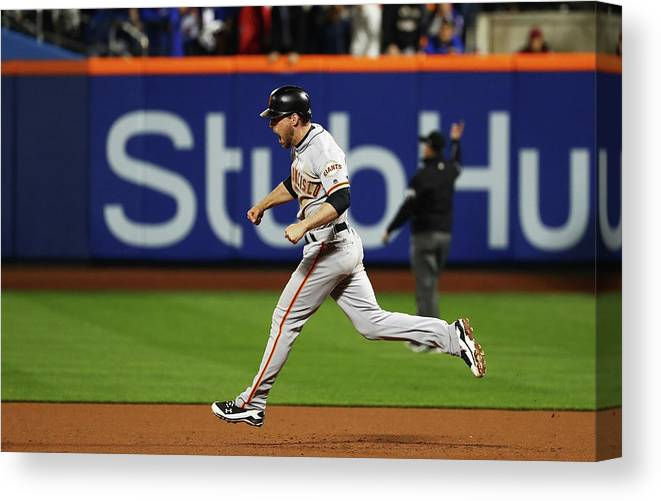 Playoffs Canvas Print featuring the photograph Conor Gillaspie by Al Bello