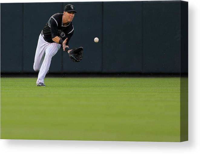 Catching Canvas Print featuring the photograph Corey Dickerson by Justin Edmonds