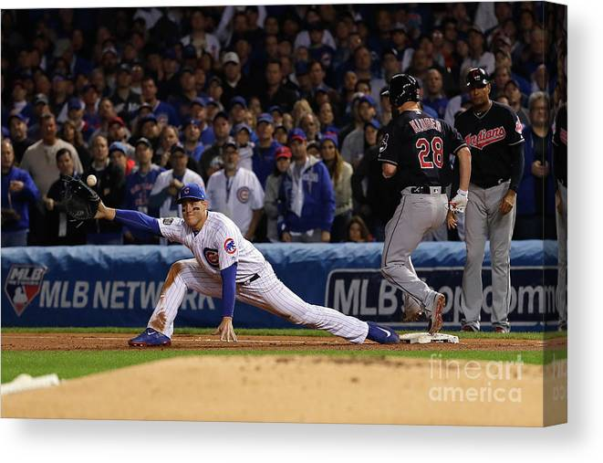 Second Inning Canvas Print featuring the photograph Corey Kluber, Anthony Rizzo, and Kris Bryant by Jamie Squire