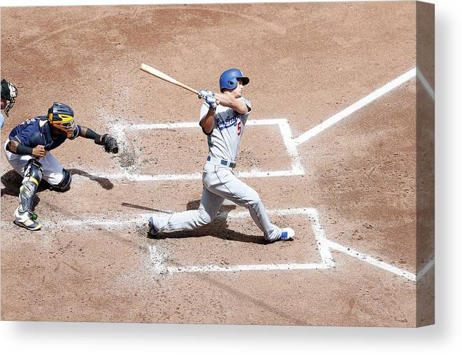 People Canvas Print featuring the photograph Corey Seager by Joe Robbins