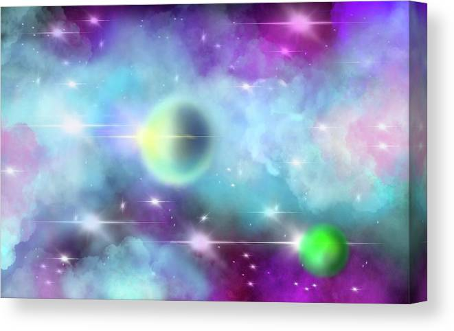 Cosmos Canvas Print featuring the painting Cosmos with two planets in turquoise and purple by Patricia Piotrak