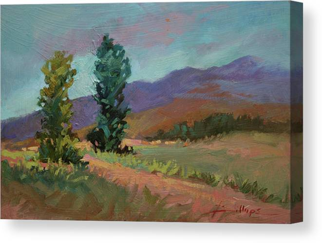 Cottonwood Paintings Canvas Print featuring the painting Cottonwoods by Betty Jean Billups