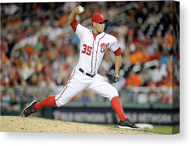 American League Baseball Canvas Print featuring the photograph Craig Stammen by Greg Fiume