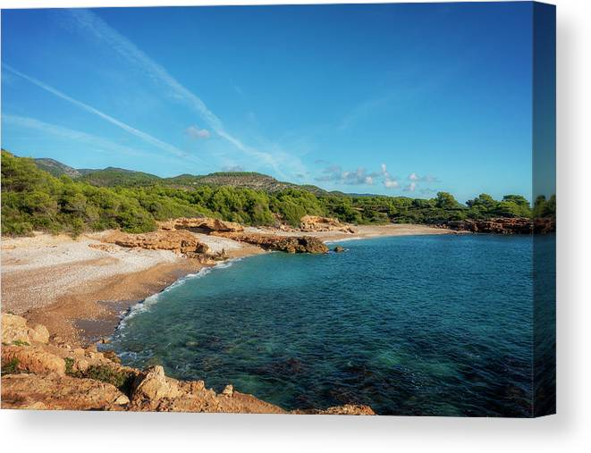 Blue Canvas Print featuring the photograph Creek In The Mountains Of Irta De Alcocebre by Vicen Photography