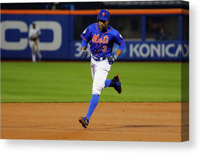 People Canvas Print featuring the photograph Curtis Granderson by Al Bello