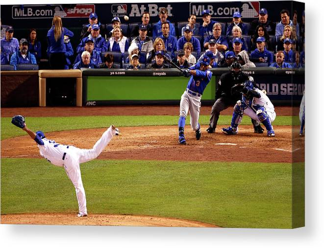 People Canvas Print featuring the photograph Curtis Granderson and Edinson Volquez by Christian Petersen