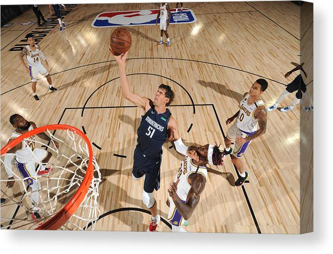 Nba Pro Basketball Canvas Print featuring the photograph Dallas Mavericks v Los Angeles Lakers by Jesse D. Garrabrant