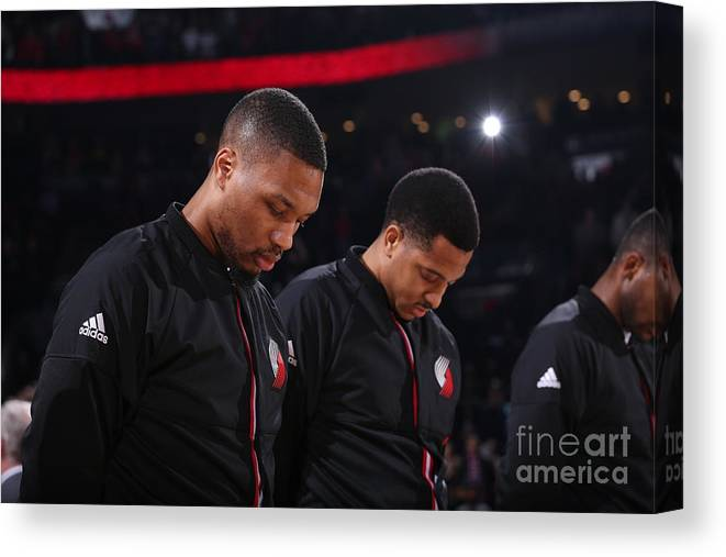 Nba Pro Basketball Canvas Print featuring the photograph Damian Lillard and C.j. Mccollum by Sam Forencich