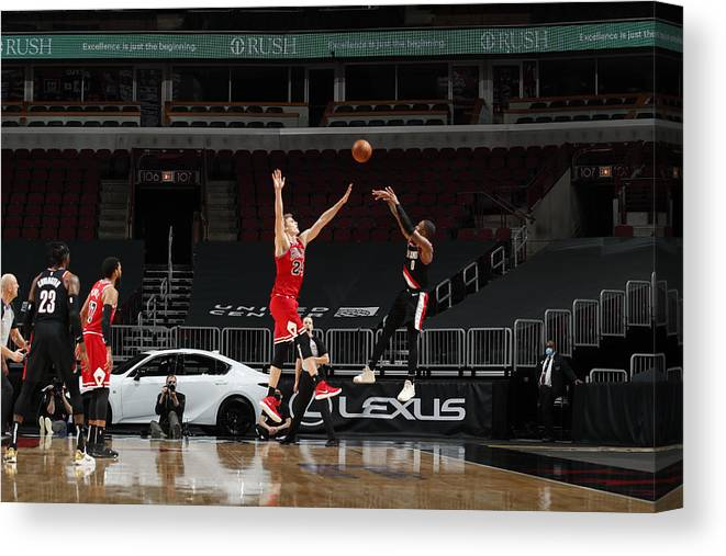 Nba Pro Basketball Canvas Print featuring the photograph Damian Lillard by Jeff Haynes