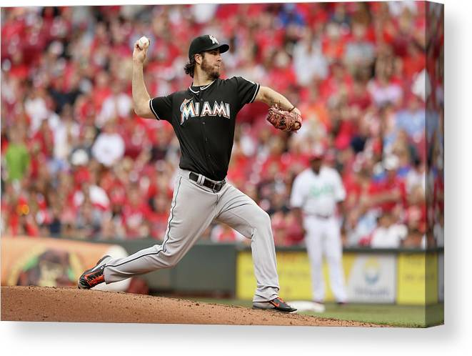Great American Ball Park Canvas Print featuring the photograph Dan Haren by Andy Lyons
