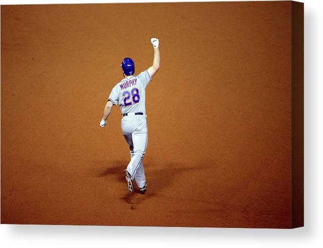 Daniel Murphy - Baseball Player Canvas Print featuring the photograph Daniel Murphy and Fernando Rodney by Jon Durr