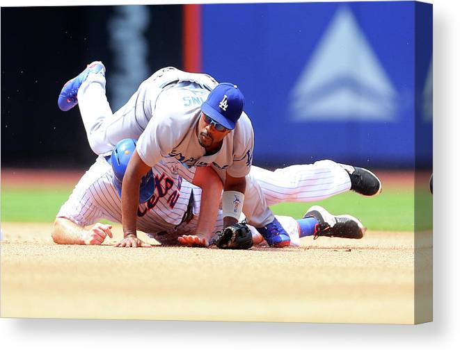 Double Play Canvas Print featuring the photograph Daniel Murphy and Jimmy Rollins by Mike Stobe