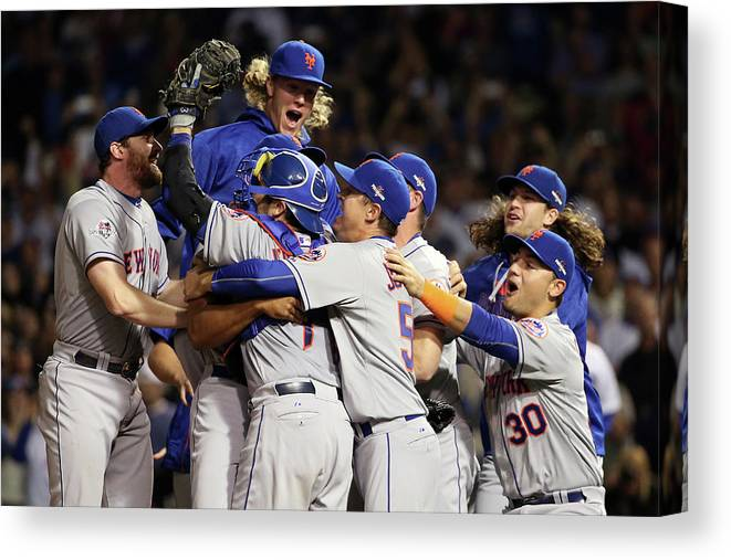 People Canvas Print featuring the photograph Daniel Murphy and Noah Syndergaard by Jonathan Daniel