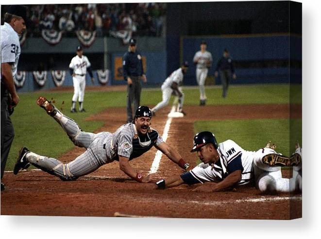Atlanta Canvas Print featuring the photograph David Justice by Ronald C. Modra/sports Imagery