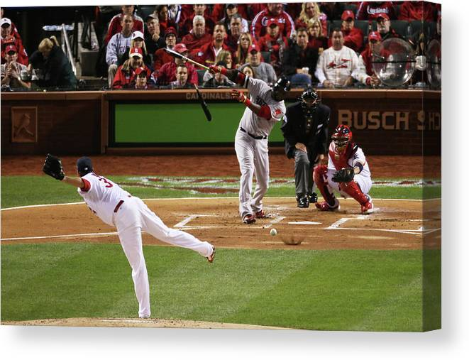 Second Inning Canvas Print featuring the photograph David Ortiz and Lance Lynn by Rob Carr