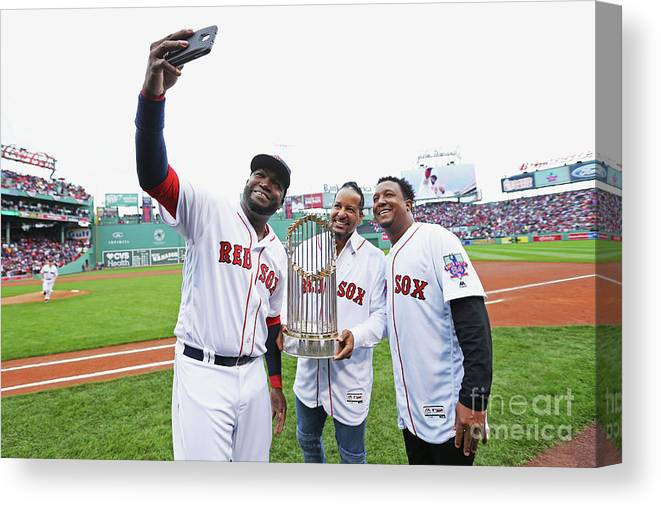 American League Baseball Canvas Print featuring the photograph David Ortiz and Pedro Martinez by Maddie Meyer