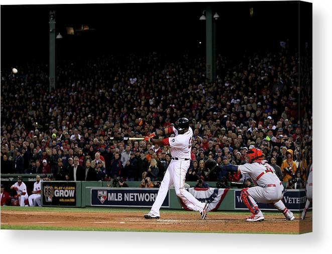 Game Two Canvas Print featuring the photograph David Ortiz by Rob Carr