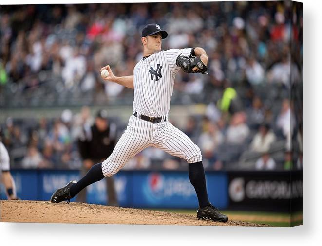 American League Baseball Canvas Print featuring the photograph David Robertson by Rob Tringali