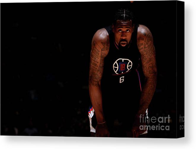 Nba Pro Basketball Canvas Print featuring the photograph Deandre Jordan by Bart Young