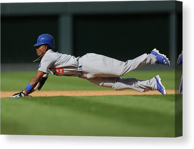Los Angeles Dodgers Canvas Print featuring the photograph Dee Gordon by Justin Edmonds