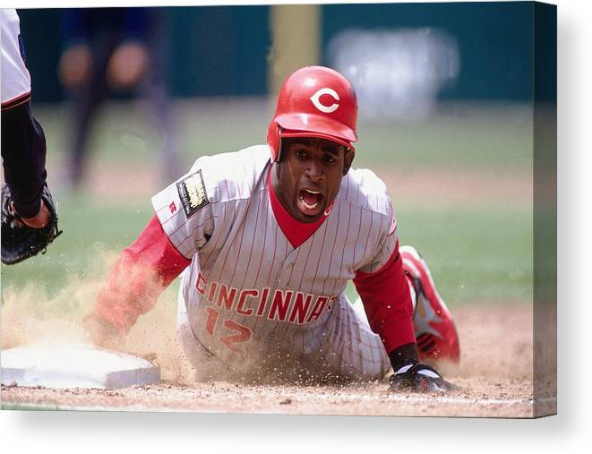Motion Canvas Print featuring the photograph Deion Sanders by Ronald C. Modra/sports Imagery