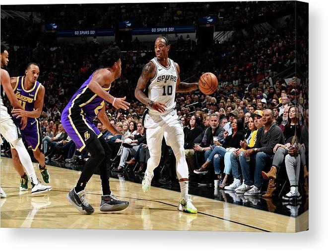 Nba Pro Basketball Canvas Print featuring the photograph Demar Derozan by Logan Riely