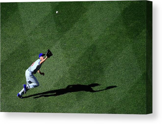 American League Baseball Canvas Print featuring the photograph Denard Span and Chris Rusin by Rob Carr