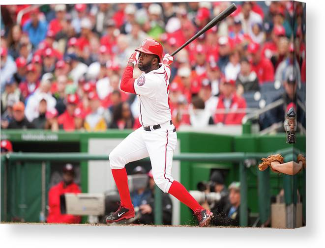National League Baseball Canvas Print featuring the photograph Denard Span by Mitchell Layton