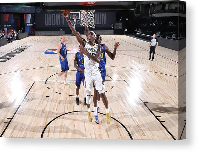 Nba Pro Basketball Canvas Print featuring the photograph Denver Nuggets v New Orleans Pelicans by Joe Murphy