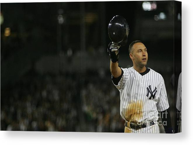 Crowd Canvas Print featuring the photograph Derek Jeter by Jared Wickerham