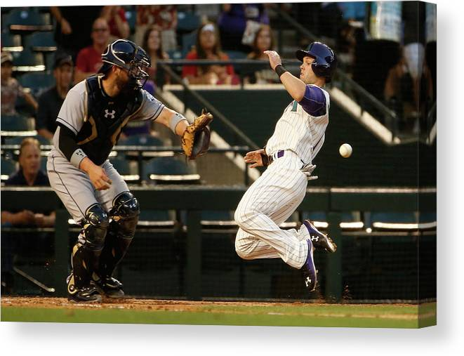 Baseball Catcher Canvas Print featuring the photograph Derek Norris and Chris Owings by Christian Petersen