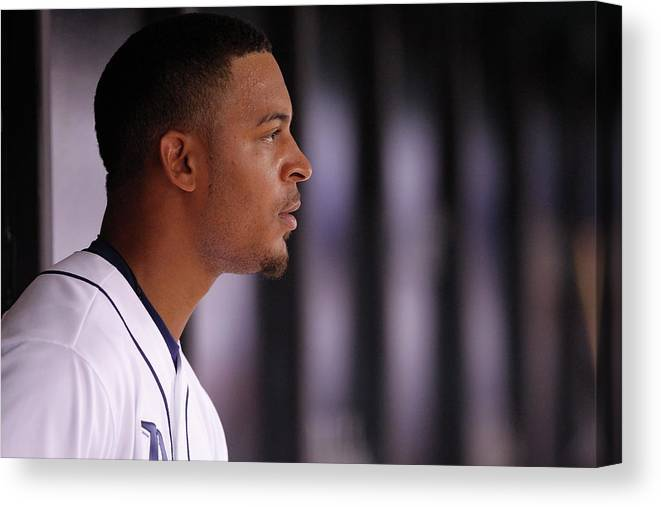 American League Baseball Canvas Print featuring the photograph Desmond Jennings by Brian Blanco