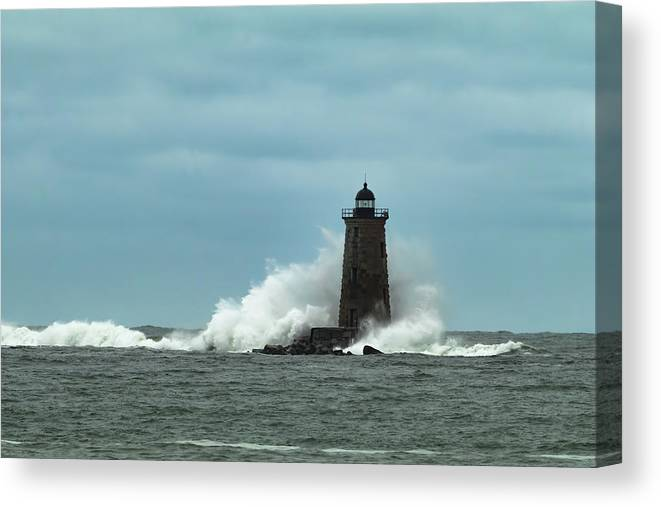 Whaleback Light Canvas Print featuring the photograph Determination by Jeff Folger