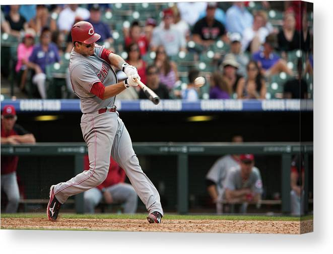 Ninth Inning Canvas Print featuring the photograph Devin Mesoraco by Dustin Bradford