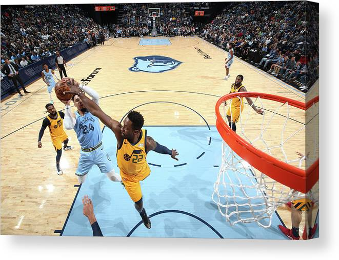 Nba Pro Basketball Canvas Print featuring the photograph Dillon Brooks and Jeff Green by Joe Murphy