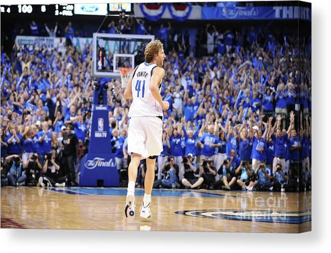 Playoffs Canvas Print featuring the photograph Dirk Nowitzki by Garrett Ellwood
