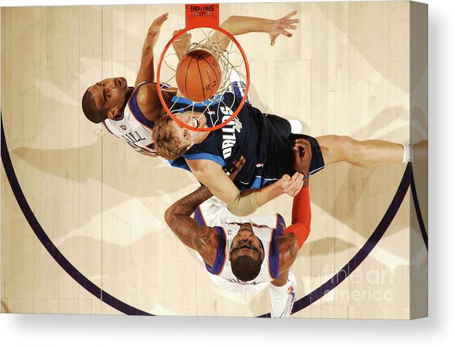 Nba Pro Basketball Canvas Print featuring the photograph Dirk Nowitzki, Grant Hill, and Amar'e Stoudemire by Barry Gossage