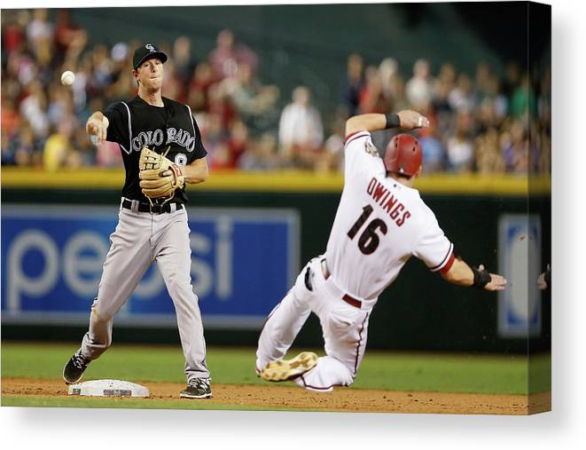 Double Play Canvas Print featuring the photograph Dj Lemahieu and Chris Owings by Christian Petersen