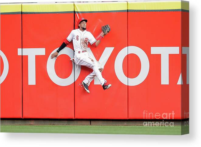 Great American Ball Park Canvas Print featuring the photograph Domingo Santana, Ryan Braun, and Billy Hamilton by Andy Lyons
